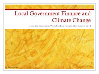 Local Government Finance and Climate Change
