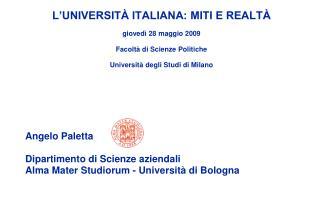 Angelo Paletta  Dipartimento di Scienze aziendali Alma Mater Studiorum - Università di Bologna