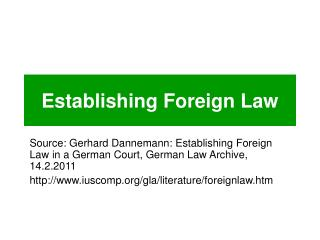Establishing Foreign Law