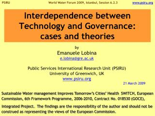 Interdependence between Technology and Governance:  cases and theories