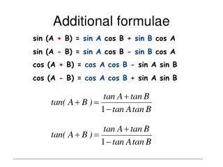 Additional formulae