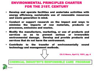 ENVIRONMENTAL PRINCIPLES CHARTER FOR THE 21ST. CENTURY