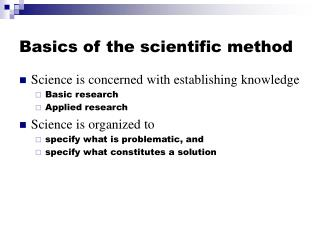 Basics of the scientific method
