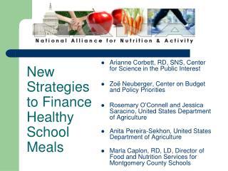 New Strategies to Finance Healthy School Meals