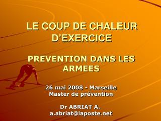 LE COUP DE CHALEUR D'EXERCICE