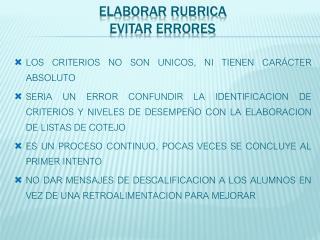 ELABORAR RUBRICA EVITAR ERRORES
