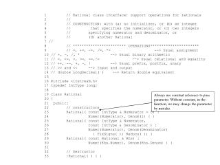 1// Rational class interface: support operations for rationals 2//