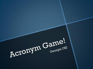 Acronym Game!