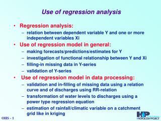 Use of regression analysis
