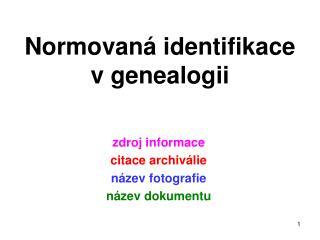Normovaná identifikace vgenealogii