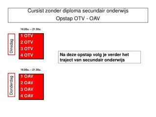 Cursist zonder diploma secundair onderwijs Opstap OTV - OAV