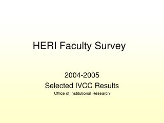 HERI Faculty Survey