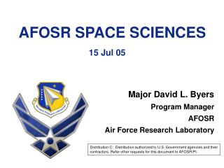 AFOSR SPACE SCIENCES  15 Jul 05