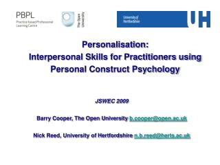 Personalisation:  Interpersonal Skills for Practitioners using Personal Construct Psychology