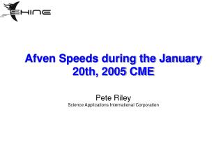 Afven Speeds during the January 20th, 2005 CME