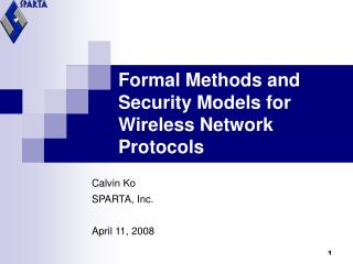Formal Methods and Security Models for Wireless Network Protocols