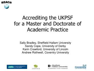Accrediting the UKPSF for a Master and Doctorate of Academic Practice