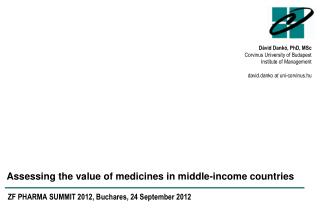 Assessing the  value  of medicines in middle-income  countries