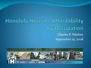 Honolulu Housing Affordability By Occupation