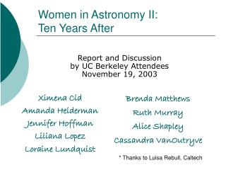 Women in Astronomy II: Ten Years After