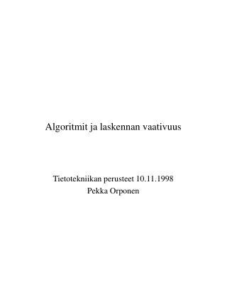 Algoritmit ja laskennan vaativuus