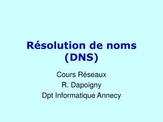 Résolution de noms (DNS)
