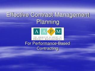 Effective Contract Management Planning