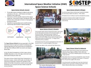 International Space Weather Initiative (ISWI) Space Science Schools