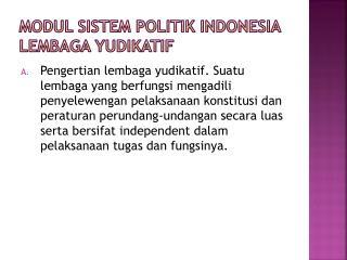 MODUL SISTEM POLITIK INDONESIA LEMBAGA YUDIKATIF