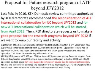 Proposal for Future research program of ATF beyond JFY2012