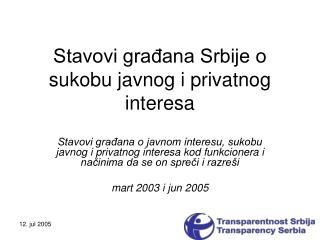 Stavovi građana Srbije o sukobu javnog i privatnog interesa