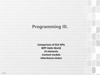 Programming  III .