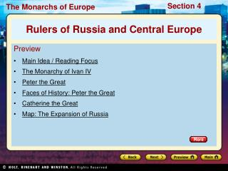 Preview Main Idea / Reading Focus The Monarchy of Ivan IV Peter the Great