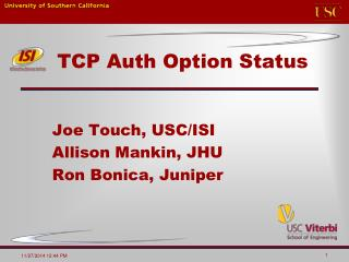 TCP Auth Option Status