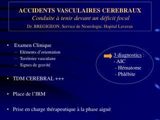 Examen Clinique Eléments d'orientation Territoire vasculaire Signes de gravité TDM CEREBRAL +++