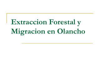 Extraccion Forestal y Migracion en Olancho