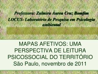 MAPAS AFETIVOS: UMA PERSPECTIVA DE LEITURA PSICOSSOCIAL DO TERRITÓRIO São Paulo, novembro de 2011