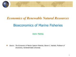 Economics of Renewable Natural Resources