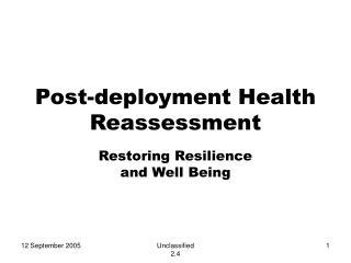 Post-deployment Health Reassessment