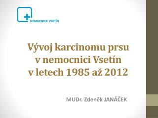 Vývoj karcinomu prsu  v nemocnici Vsetín  v letech 1985 až 2012
