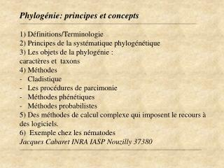 Phylog nie: principes et concepts  1 D finitions