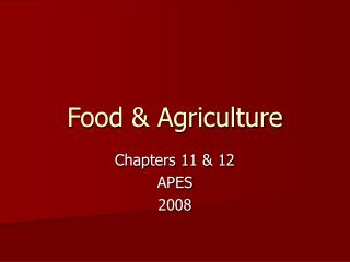 Food & Agriculture