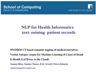NLP for Health Informatics:  text-mining  patient records
