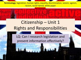 Citizenship � Unit 1  Rights and Responsibilities