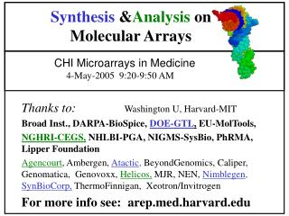 Synthesis  & Analysis  on Molecular Arrays