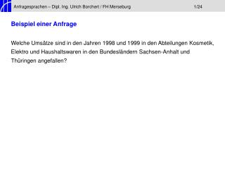 Anfragesprachen – Dipl. Ing. Ulrich Borchert / FH Merseburg1/24