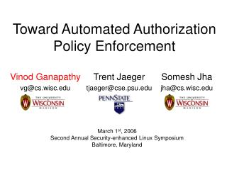 Toward Automated Authorization Policy Enforcement