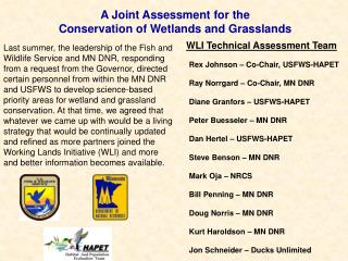 A Joint Assessment for the Conservation of Wetlands and Grasslands