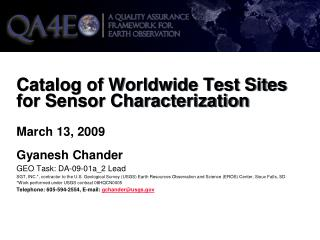 Catalog of Worldwide Test Sites for Sensor Characterization