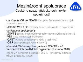 Mezinárodní spolupráce Českého svazu vědeckotechnických společností